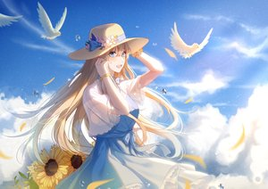 Rating: Safe Score: 49 Tags: animal anthropomorphism bird blonde_hair blue_eyes bow clouds dress flowers ingmuqianyi lexington long_hair petals sky summer_dress sunflower wristwear zhanjian_shaonu User: RyuZU