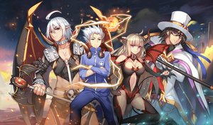 Rating: Safe Score: 32 Tags: breasts chain elbow_gloves gloves group hat headphones horns long_hair male pointed_ears short_hair weapon weiyinji_xsk white_hair User: RyuZU