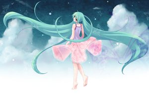 Rating: Safe Score: 42 Tags: aqua_hair barefoot clouds green_eyes hatsune_miku long_hair skirt twintails vocaloid User: happygestapo