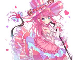 Rating: Safe Score: 15 Tags: aqua_eyes elizabeth_bathory_(fate) fate/grand_order fate_(series) flowers gloves hat long_hair microphone pink_hair pointed_ears tail takoyaki_hika white User: RyuZU