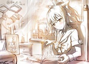 Rating: Safe Score: 140 Tags: anthropomorphism blush book bow boyogo kantai_collection polychromatic ponytail signed sketch yuubari_(kancolle) User: vf.nightcore
