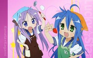 Rating: Safe Score: 9 Tags: food fruit hiiragi_kagami izumi_konata lucky_star strawberry User: 秀悟