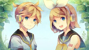Rating: Safe Score: 28 Tags: hatsune_miku kagamine_len kagamine_rin vocaloid User: HawthorneKitty