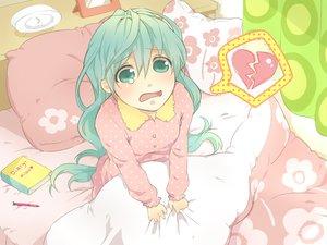 Rating: Safe Score: 41 Tags: aqua_eyes aqua_hair bed book buuta crying hatsune_miku heart pajamas vocaloid User: HawthorneKitty