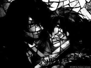 Rating: Safe Score: 11 Tags: all_male male monochrome red_eyes roseana_sukkasem shounen_ai togainu_no_chi User: cerezo-kuran