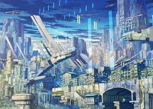 Rating: Safe Score: 41 Tags: airship building city clouds jpeg_artifacts k_kanehira original scenic sky watermark User: RyuZU