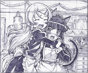 Rating: Safe Score: 74 Tags: 2girls animal_ears apron blush catgirl gokou_ruri kousaka_kirino long_hair maid monochrome ore_no_imouto_ga_konna_ni_kawaii_wake_ga_nai sketch tail zaxzero User: Kumacuda