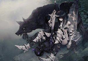 Rating: Safe Score: 161 Tags: animal armor black_hair long_hair original purple_eyes sword thighhighs wanke weapon wolf User: RyuZU