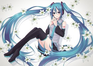 Rating: Safe Score: 72 Tags: blue_eyes blue_hair blush flowers hatsune_miku headphones long_hair midorikawa_rina signed skirt thighhighs tie twintails vocaloid User: FormX