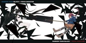 Rating: Safe Score: 44 Tags: black_rock_shooter boots botbe cape crossover darker_than_black gun kuroi_mato suou_pavlichenko weapon User: HawthorneKitty