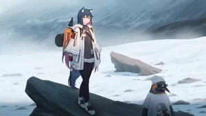 Rating: Safe Score: 40 Tags: animal animal_ears arknights kamu_kame long_hair penguin tail texas_(arknights) the_emperor_(arknights) User: sadodere-chan