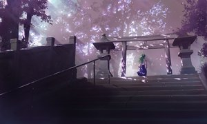Rating: Safe Score: 121 Tags: building forest green_hair japanese_clothes kochiya_sanae long_hair miko scenic shade stairs torii totuka touhou tree User: Avenger