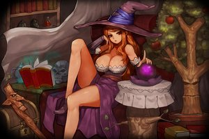 Rating: Questionable Score: 116 Tags: apple book breasts brown_hair cleavage dragon's_crown drink food fruit gurimjang hat long_hair red_eyes skull sorceress_(dragon's_crown) staff witch_hat User: Flandre93