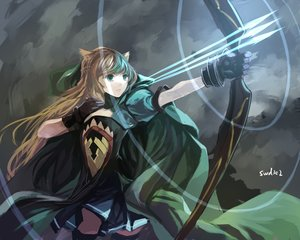 Rating: Safe Score: 171 Tags: animal_ears atalanta_(fate) bow_(weapon) brown_hair cape dress fate/apocrypha fate_(series) gloves green_eyes long_hair signed swd3e2 weapon User: Flandre93