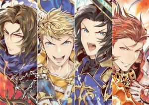 Rating: Safe Score: 9 Tags: all_male aqua_eyes armor black_hair blonde_hair brown_hair granblue_fantasy male red_eyes red_hair short_hair tagme_(artist) yellow_eyes User: otaku_emmy