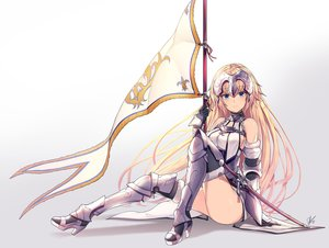 Rating: Safe Score: 92 Tags: aliasing aqua_eyes armor blonde_hair boots fate/grand_order fate_(series) gradient headdress jeanne_d'arc_(fate) lee_seok_ho long_hair signed spear sword thighhighs weapon User: Jahta