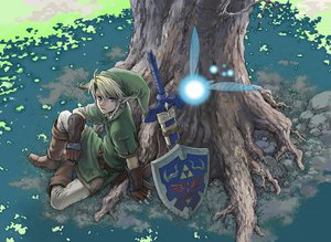 Rating: Safe Score: 158 Tags: all_male beco blonde_hair blue_eyes fairy grass hat link_(zelda) male navi pointed_ears shade sword the_legend_of_zelda tree weapon User: STORM