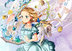 Rating: Safe Score: 65 Tags: alice_in_wonderland animal bird blonde_hair book brown_hair butterfly dress fish flowers green_eyes hatori_niwatori kotetu paper stars tagme water User: HawthorneKitty