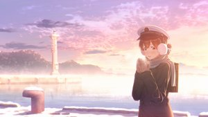 Rating: Safe Score: 24 Tags: anthropomorphism brown_eyes brown_hair clouds earmuffs gloves hat kantai_collection key_kun lighthouse scarf school_uniform sky snow sunset taiyou_(kancolle) waifu2x water User: RyuZU