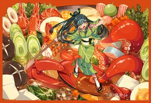 Rating: Safe Score: 39 Tags: black_hair food green_eyes japanese_clothes kimono long_hair original ponytail signed socks tagme_(artist) tentacles User: otaku_emmy