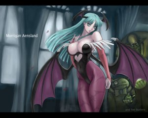 Rating: Questionable Score: 148 Tags: breasts darkstalkers green_eyes green_hair morrigan_aensland succubus wings User: rolluprollin