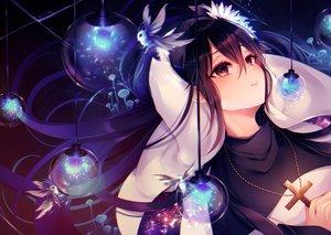 Rating: Safe Score: 81 Tags: black_hair cross flowers kuro_namako long_hair nun original User: Dreista