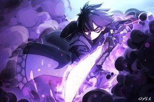 Rating: Safe Score: 43 Tags: all_male armor bai_yemeng black_hair gloves hoodie killer_seven magic male purple red_eyes seven_(killer_seven) short_hair signed sword weapon User: RyuZU
