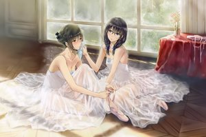 Rating: Safe Score: 65 Tags: black_hair blush breasts cleavage dress flowers_(game) glasses innocent_grey scan see_through short_hair sugina_miki User: mattiasc02