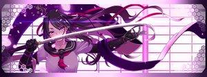 Rating: Safe Score: 127 Tags: black_hair dualscreen haiiro_gundan katana long_hair original petals purple_eyes ribbons seifuku sword weapon User: SciFi