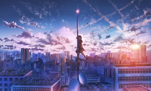 Rating: Safe Score: 53 Tags: building city clouds kenzo_093 landscape original scenic school_uniform sky sunset third-party_edit User: kyxor