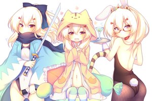 Rating: Safe Score: 52 Tags: animal_ears anthropomorphism ass ayanami_(azur_lane) azur_lane blonde_hair bodysuit bow bunny_ears bunnygirl cameltoe cherry cosplay drink fang fate/grand_order fate_(series) food fruit glasses japanese_clothes katana long_hair navel orange_eyes pantyhose ponytail sakurato_ototo_shizuku scarf swimsuit sword tail tiara weapon User: otaku_emmy