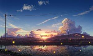 Rating: Safe Score: 76 Tags: clouds landscape original pei_(sumurai) reflection scenic sky sunset torii User: FormX