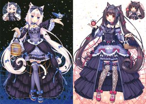 Rating: Safe Score: 163 Tags: black_hair blue_eyes blush brown_eyes cage catgirl cat_smile chocola_(sayori) choker dress lolita_fashion long_hair original photoshop sayori scan tail thighhighs twintails vanilla_(sayori) white_hair User: SciFi