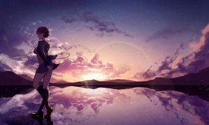 Rating: Safe Score: 82 Tags: brown_hair clouds headphones kisui_(user_wswf3235) kneehighs original reflection short_hair skirt sky stars sunset User: BattlequeenYume