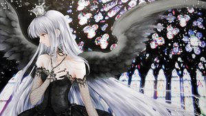 Rating: Safe Score: 28 Tags: dress gothic gray_hair long_hair original red_eyes scan shiitake wings User: Tensa