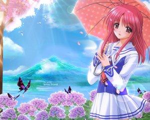 Rating: Safe Score: 19 Tags: agatsuma_mizuki brown_eyes butterfly cherry_blossoms nishimata_aoi pink_hair seifuku umbrella yumeria User: Oyashiro-sama
