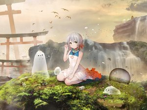 Rating: Safe Score: 48 Tags: akky_(akimi1127) animal bird dress grass gray_hair green_eyes leaves original short_hair torii water waterfall User: luckyluna