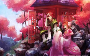 Rating: Safe Score: 17 Tags: cherry_blossoms green_eyes mokona red_eyes sakura_(tsubasa) short_hair syaoran tree tsubasa_reservoir_chronicle watermark User: mikucchi