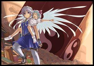 Rating: Safe Score: 38 Tags: 2girls blue_eyes book braids gray_hair gustav_(telomere_na) hat izayoi_sakuya maid remilia_scarlet short_hair touhou twintails vampire wings User: gnarf1975