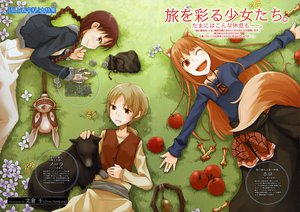 Rating: Safe Score: 10 Tags: animal_ears apple blonde_hair brown_eyes brown_hair chloe_(spice_and_wolf) dress fang food fruit grass horo long_hair nora_ardent ookami_to_koushinryou orange_hair purple_eyes red_eyes scan short_hair tail wink wolfgirl User: 秀悟