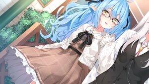 Rating: Safe Score: 27 Tags: 2girls blue_hair bow chiyonekoko dress glasses gray_hair hololive long_hair pointed_ears shishiro_botan shoujo_ai yellow_eyes yukihana_lamy User: BattlequeenYume