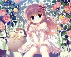 Rating: Safe Score: 144 Tags: animal blue_eyes brown_hair cropped crown dengeki_moeoh dress flowers loli original penguin rose santa_matsuri scan User: mattiasc02