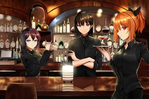 Rating: Safe Score: 41 Tags: aircell blue_eyes bow brown_hair drink long_hair narynn_(character) orange_hair original ponytail red_eyes reflection short_hair suit tie waitress User: otaku_emmy