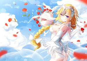 Rating: Questionable Score: 51 Tags: animal ass bai_yemeng bird blonde_hair blue_eyes bow braids breasts clouds elbow_gloves fate/grand_order fate_(series) flowers gloves jeanne_d'arc_(fate) long_hair ponytail rose signed sky wedding_attire User: RyuZU
