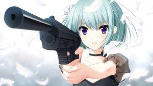 Rating: Safe Score: 105 Tags: chloe_(gakuen_taima) frill gakuen_taima game_cg gun koizumi_amane leaves purple_eyes short_hair weapon User: Wiresetc