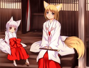 Rating: Safe Score: 77 Tags: 2girls animal_ears blonde_hair blue_eyes blush bow flute foxgirl instrument japanese_clothes loli miko ooji original red_eyes short_hair stairs tail white_hair User: SciFi