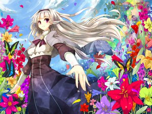 Rating: Safe Score: 20 Tags: flowers idolmaster long_hair petals pink_eyes shijou_takane sky white_hair User: HawthorneKitty