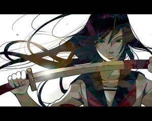 Rating: Safe Score: 70 Tags: black_eyes black_hair katana nanahara_shie original school_uniform sword weapon User: FormX