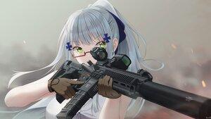 Rating: Safe Score: 49 Tags: anthropomorphism close girls_frontline glasses gloves gray_hair green_eyes gun hk416_(girls_frontline) keenh long_hair ponytail signed weapon User: otaku_emmy