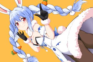 Rating: Safe Score: 109 Tags: animal_ears ass blue_hair blush bow braids breasts bunny_ears bunnygirl cleavage gloves hololive long_hair marugoshi_(burger54) orange red_eyes tail twintails usada_pekora User: BattlequeenYume